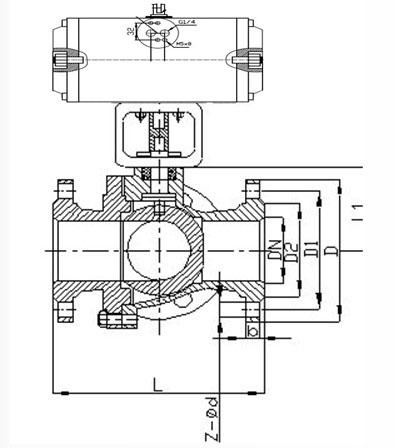 Q641F气动衬氟球阀结构图