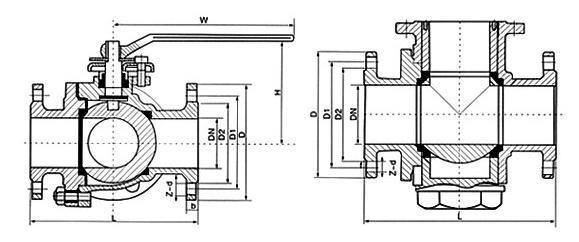 Q44F三通衬氟球阀尺寸图